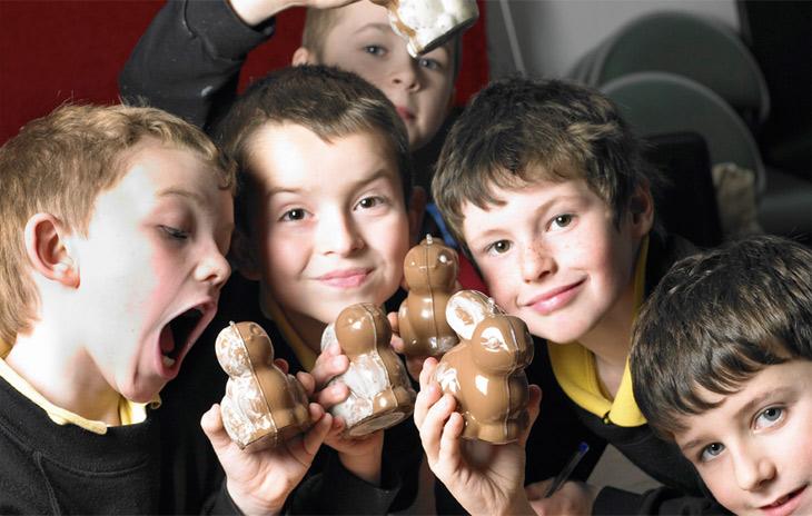 Children Posing with Chocolates
