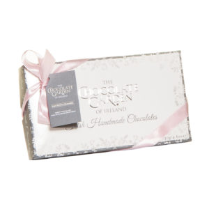Chocolate Box silver with pink ribbon