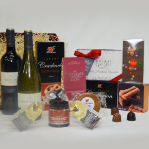 Gift Basket with 2 French Wines, Handmade Chocolates, Biscuits, Chocolate & Hazelnut Spread and Hot Chocolate Swirly Sticks