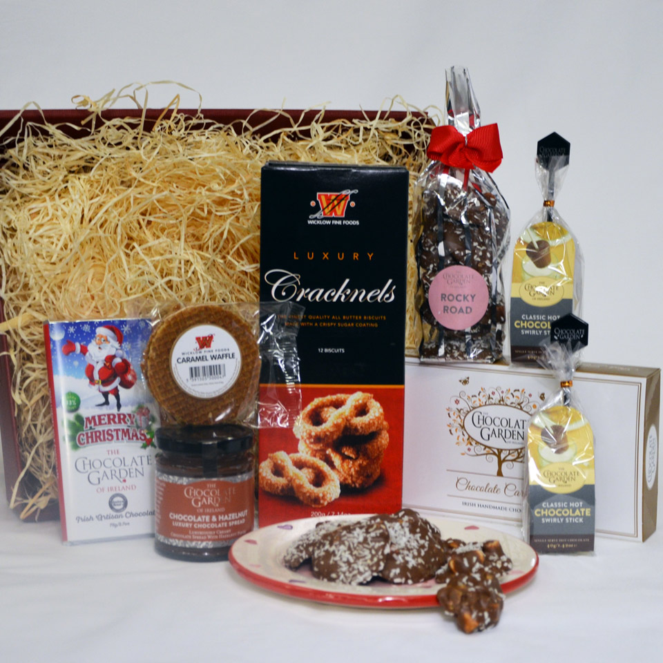 Happy Christmas Hamper with Artisan Chocolates, Biscuits & Chocolate Treats