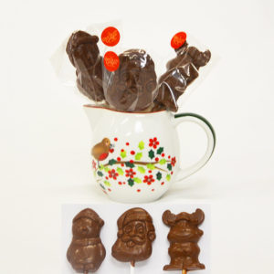 Chocolate Lollipops in Christmas shapes