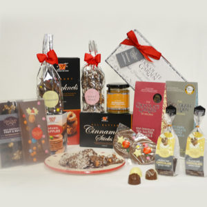 Christmas Gift Basket with premium chocolate, hot chocolate, novelties, bars, butterscotch spread