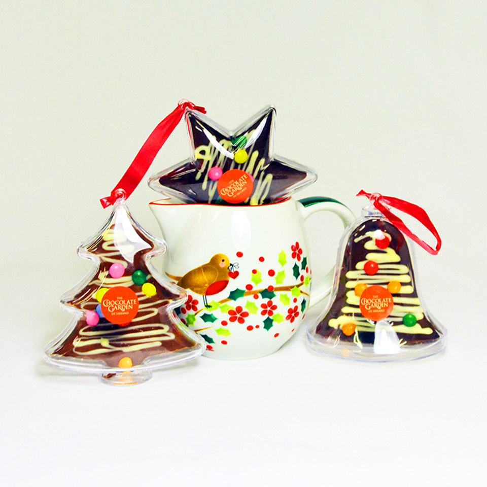 Chocolate Christmas Tree Decorations with hanging string and plastic reusable casing