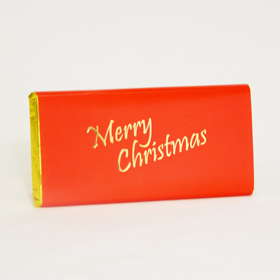 Artisan Milk Chocolate with a beautiful Red and Gold 'Merry Christmas' message