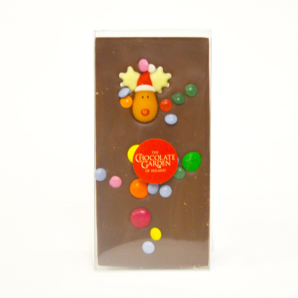 Handmade Artisan Chocolate with fun Rudolph decoration and colourful chocolate beans