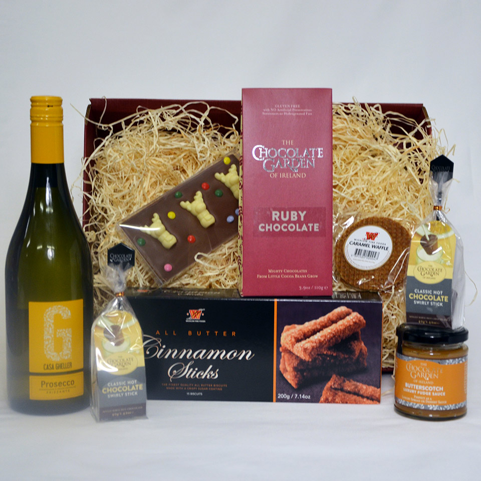 Beautiful Artisan Chocolates, Biscuits, Prosecco and Treats in a Gift Basket