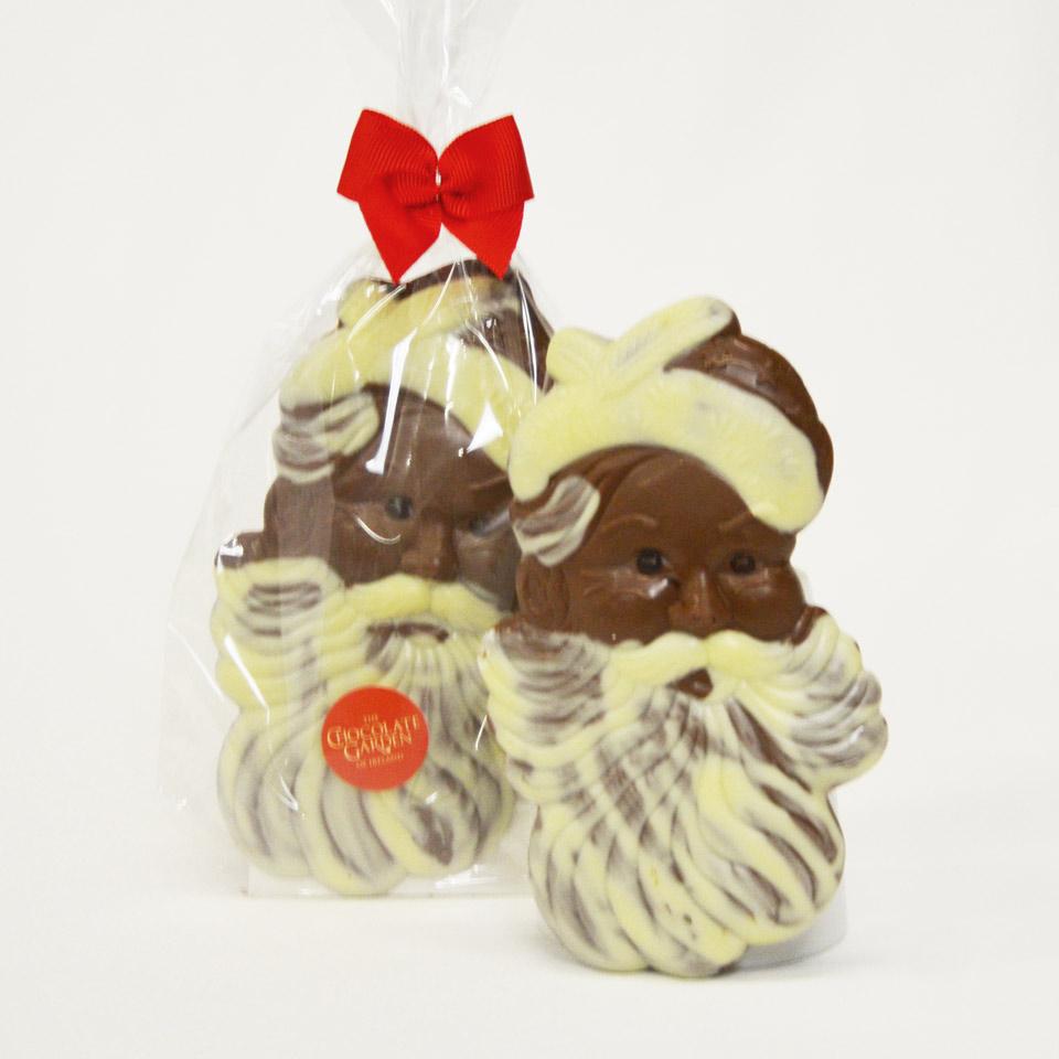 Milk and White decorated Chocolate Santa Head 150g