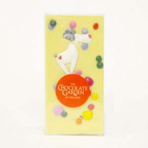 White chocolate decorated with Reindeer and Colourful Chocolate Beans