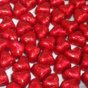 foiled red heart shaped chocolates
