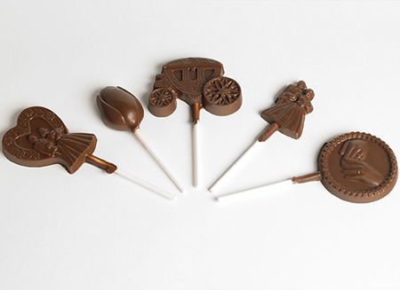 chocolate lollipops with various shapes